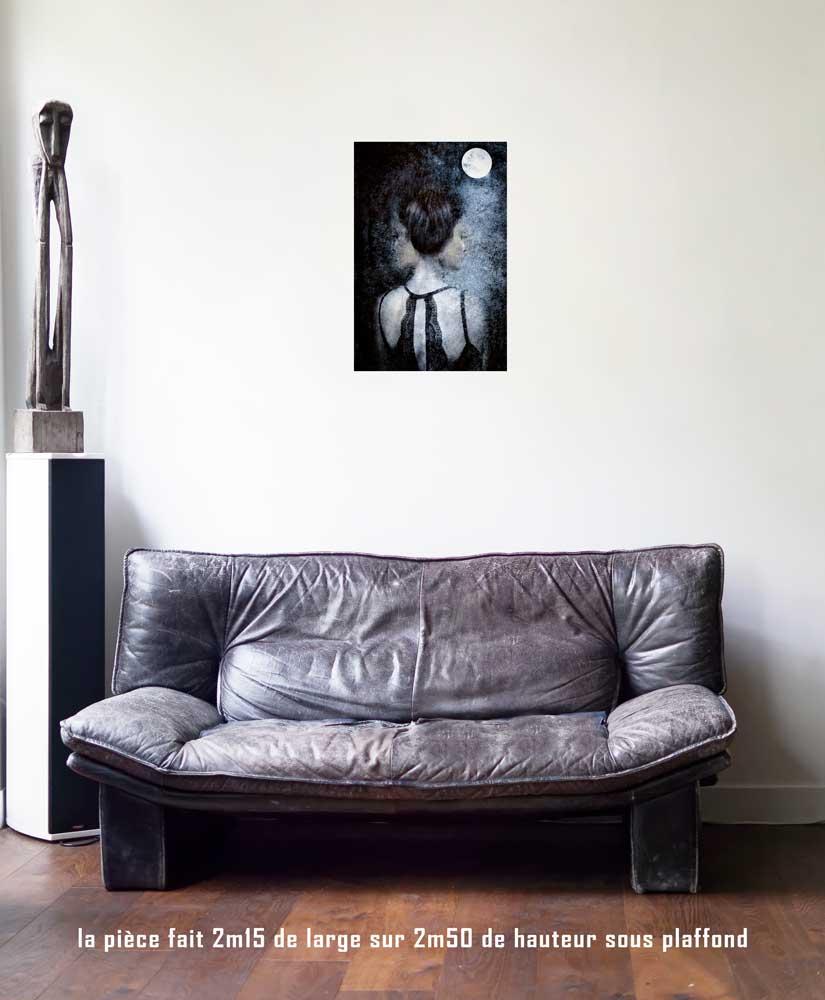 la lune,40 x 60 cm, série les lames de l'Âme par Justine Darmon