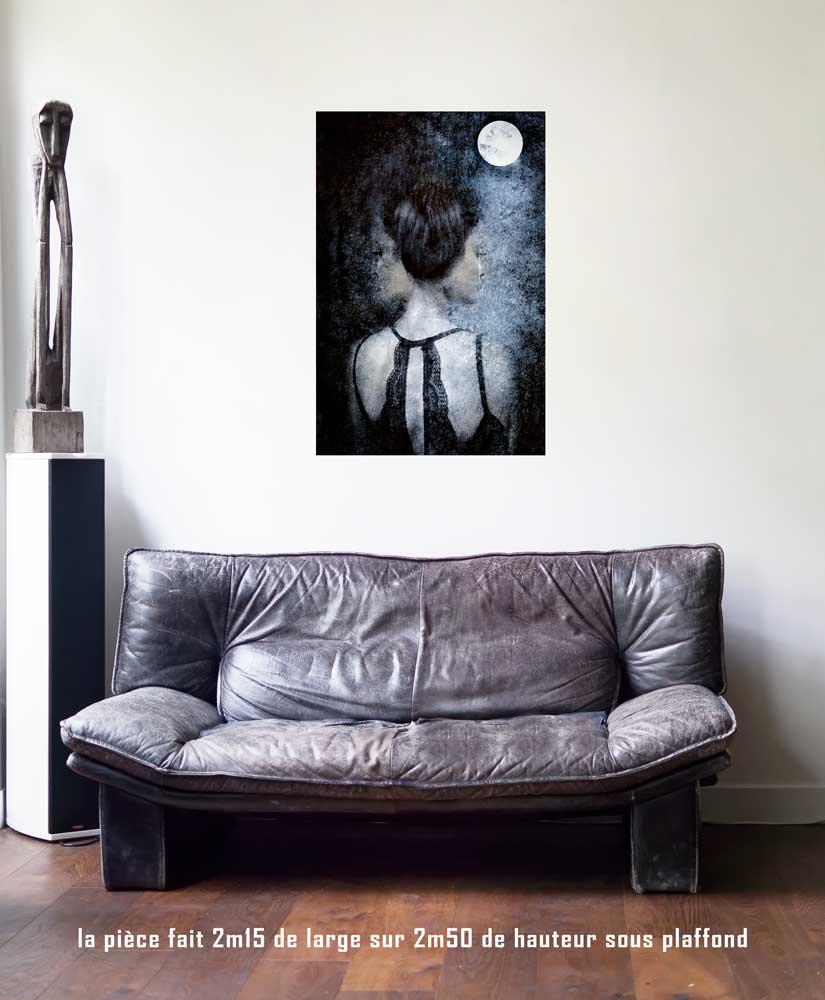 La Lune, 60 x 90 cm, série les lames de l'Âme par Justine Darmon