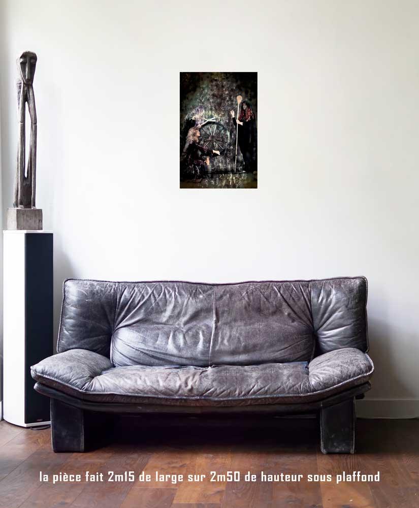 La Roue de Fortune, 40 x 60 cm, série les lames de l'Âme par Justine Darmon